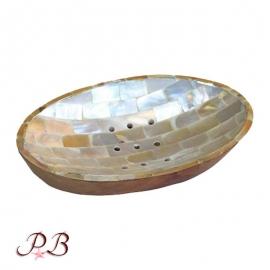 Jabonera ovalada de Nacar y Caoba